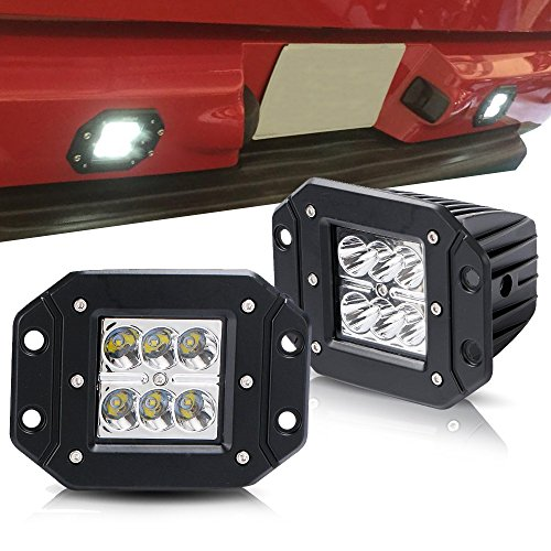 TURBOSII Spot 3X3 4.5In Flush Mount Pods Cube Reverse Backup Lamp Auxiliary Driving Fog Lights Bumper Grille Offroad Work Light For Toyota Tacoma Ford Dodge Ram Pickup Truck Jeep ATV Boat Chevy (Bumper Hyundai Santa 2004 Fe)