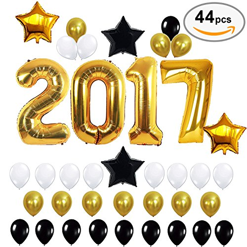 2017 Balloons Gold Decorations Set, Black & White Latex Balloon, Large Size Number Banner, Perfect for Event, Bridal Wedding Birthday Christmas and Graduation Party (Graduation Party Supply)