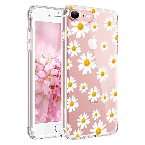 Design Silicone Back Cover - JIAXIUFEN Clear Slim Shockproof Flower Floral Design Soft Flexible TPU Silicone Back Cover Phone Case Compatible with iPhone 7 and iPhone 8 - Little Daisies