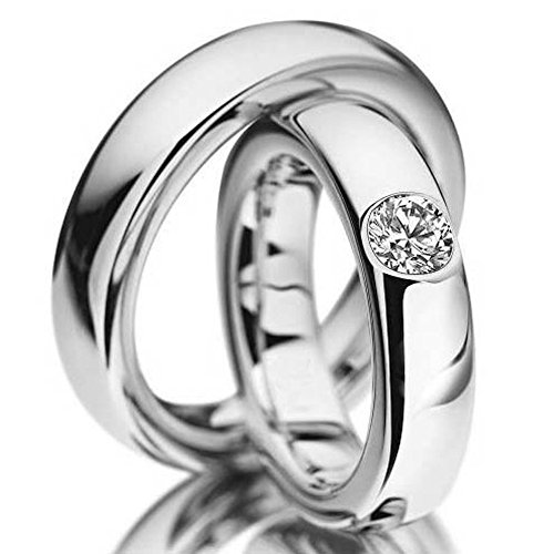 18k White Gold Polished Dome His Hers Wedding Bands 039 Ctw Round Diamond 5mm