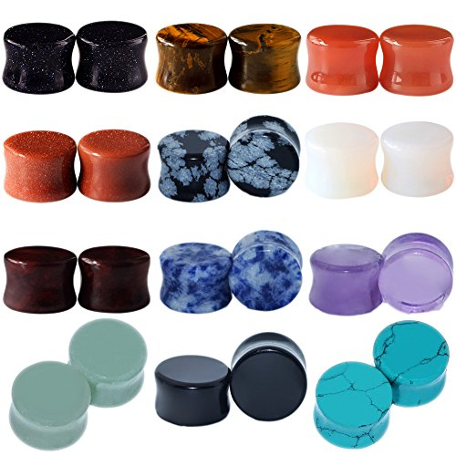 1/2 Inch Stone (24pcs Stone Ear Gauges Flesh Tunnels Plugs Stretchers Expander)