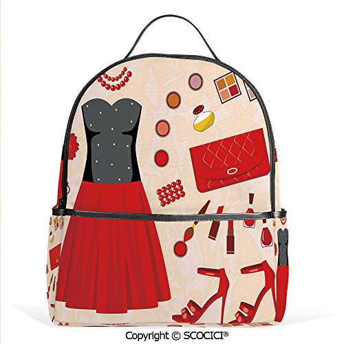 Lightweight Chic Bookbag Party Clothes and Cosmetics Make Up Feminine Art Evening Dress Collection,Multicolor,Satchel Travel Bag Daypack