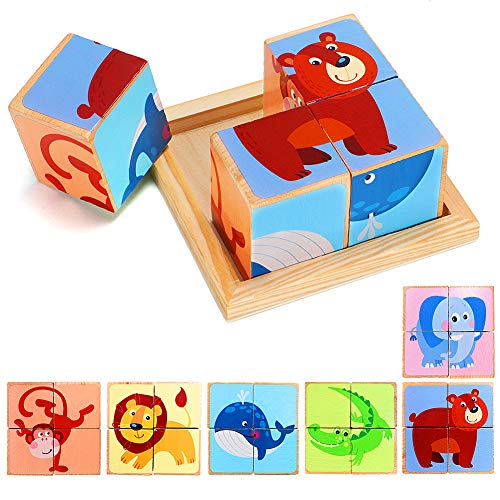 Lewo 6 in 1 Wooden Animal Block Puzzle Big Cube Elephant Monkey Fish Bear Lion Crocodile Patterns Blocks with Wood Storage Tray for Toddlers Boys Girls 2 3 4 Years Old