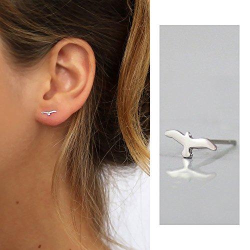 Handmade Designer tiny Seagull Stud earrings Sterling silver, unisex