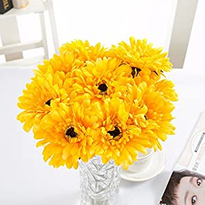 10 PCS Real Touch Latex Silk Artificial fake plastic Daisy Chrysanthemum Flowers Sun Chrysanthemum,Sunflower, Simulation Gerber, Dimorphotheca,Party Room home Decoration DIY Flower Bouquet 14