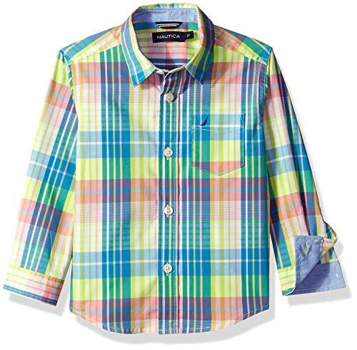 (Nautica Big Boys' Long Sleeve Plaid Woven Shirt, James Lime Punch, Small (8))