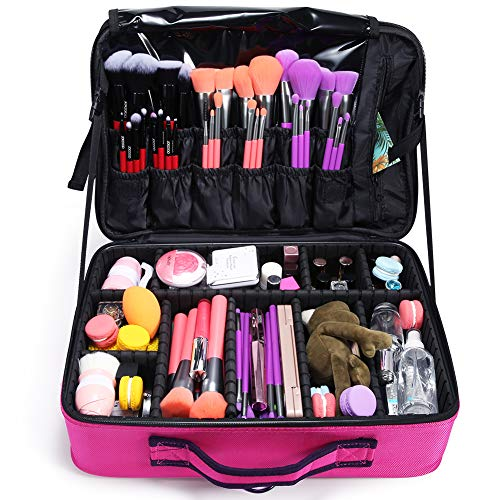 Docolor Makeup Train Case Multi Functional Professional Portable Makeup Bag Make Up Artist Box Cosmetic Organizer for Cosmetics Makeup Brushes Beauty Tool (Pink,Large)