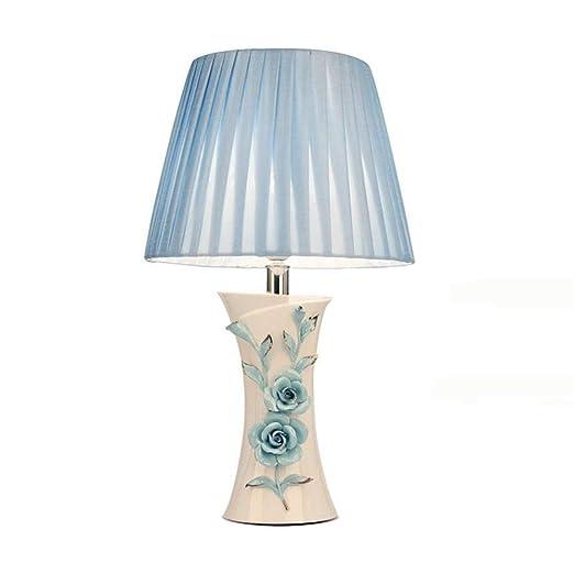 azul rosas rojas de cerámica lámpara de mesa lámpara de ...