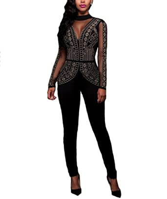 2582a38c40c Freeroads Women s Jumpsuit Sexy Studded Pattern Mesh Insert Long Sleeve  Bodycon Long Pants Evening Party Jumpsuit
