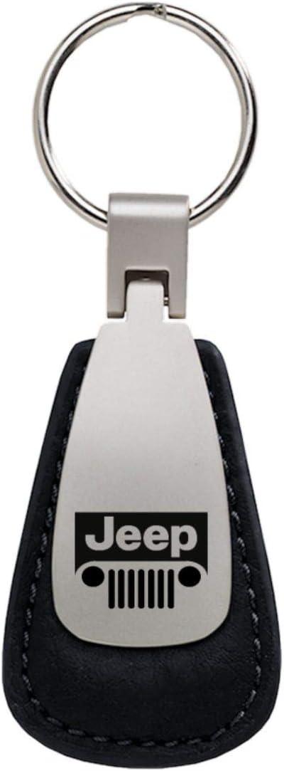 DanteGTS Jeep Grill Leather Key Chain Red Rectangular Key Ring Fob Lanyard