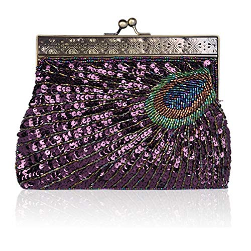 Rose Purple Waveni color Sera Paillettes Donna Perline Borsa Da Di E Con Pochette FPTg47qF