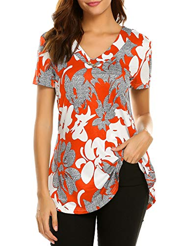 (Sweetnight Women Short Sleeve Floral Print Shirts Button Decor Flare Tunic Tops Orange M)