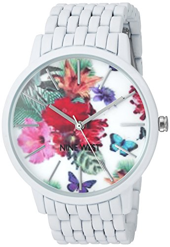 Nine West Women's NW/2025FLWT Floral Patterned Dial Matte White Rubberized Bracelet Watch