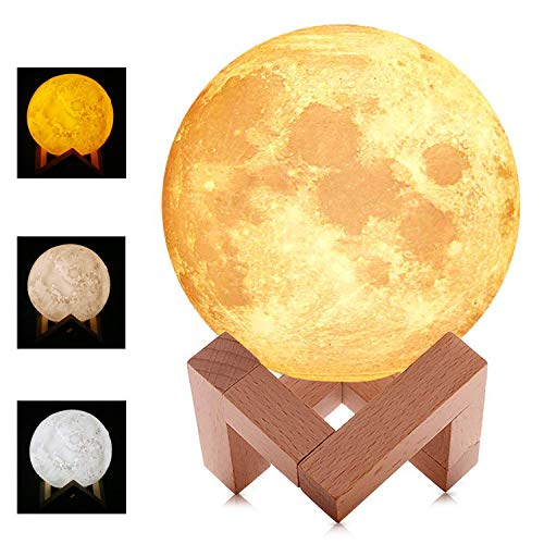 WUHUHAI Moon Lamp, 3D Moon Night Light, lamp Moon with Stand,Warm and Cool White, Stepless Dimmable Touch Control, Home Night Light with USB Charging, PLA Material, Birthday Party Gifts(5.9 Inch)