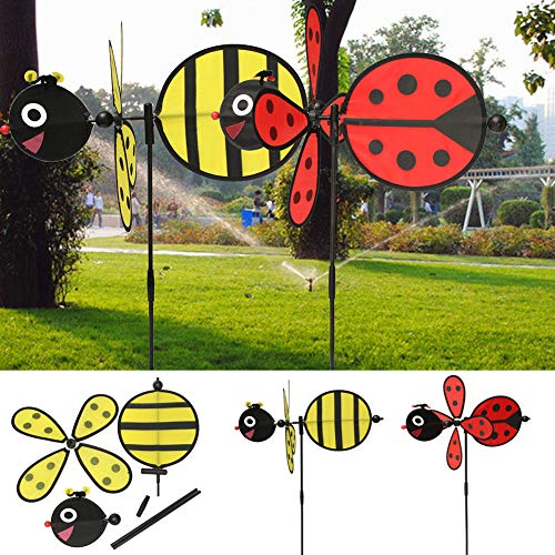 HUImiai Bumble Bee/Ladybug Wind Spinner, Animal Windmill Whirligig Wheel for Your Yard and Garden,Kids Toy Gifts ()