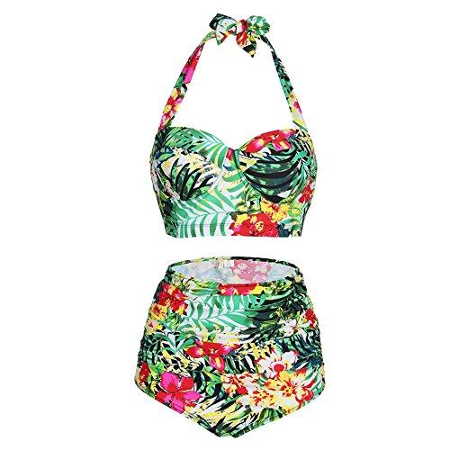 2 Piece Vintage Bikini - Lover-Beauty Vintage High Waisted Bikini Two Piece Bathing Suit Green 3XL