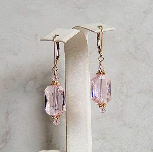 Rosaline Pink Rectangle Crystal Gold Filled Leverback Earrings Made Wtih Swarovski Gift Idea