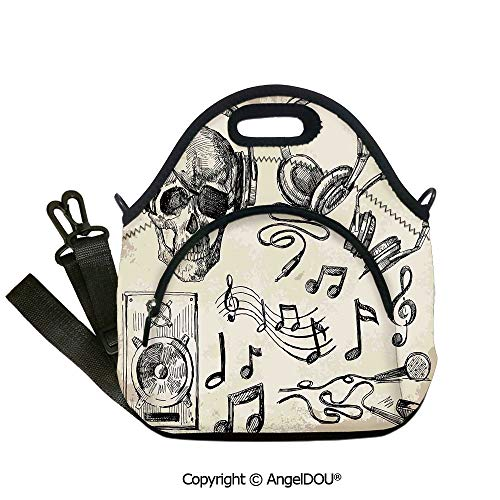 AngelDOU Music Decor waterproof neoprene lunch bags Sketchy Music Background Hipster Skull with Headphones Record Player Mic Speakers Print for Women Kids Baby Girls.12.6x12.6x6.3(inch)