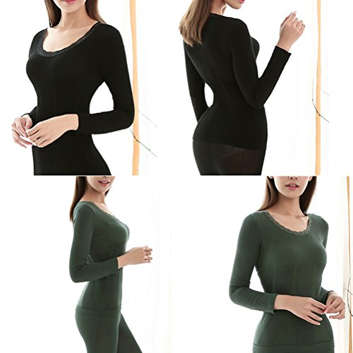 Zhhlinyuan Winter Mujeres Women's Slim Body-shaped Thermal Underwear Suits Warm Top Shirt& Pants Green