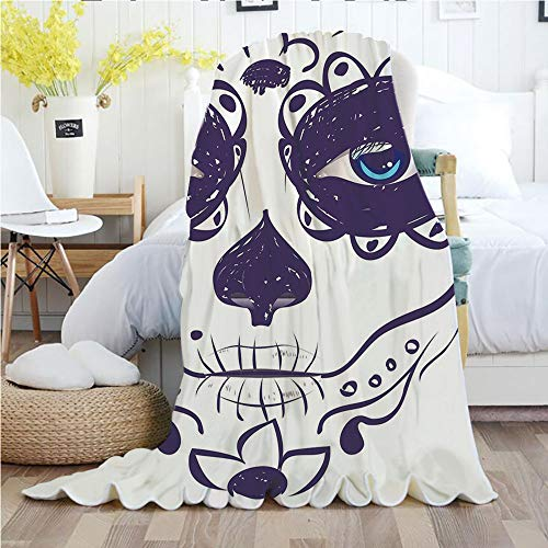 Ylljy00 Day of The Dead Decor,Throw Blankets,Flannel Plush Velvety Super Soft Cozy Warm with/Dia de Los Muertos Sugar Skull Girl Face with Mask Make up/Printed Pattern(70