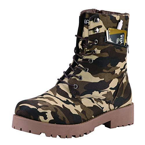 CINAK Military Combat Boots for Women- Winter Autumn Comfort Outdoor Waterproof Zipper Martin Booties Mid-Calf Motorcycle Shoes (6.5-7 B(M) US/ CN38 / 9.4'', Camouflage)