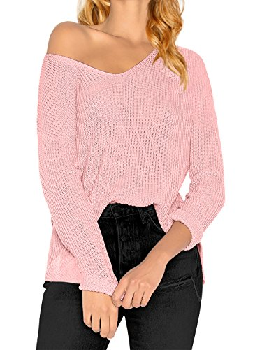 Pink V-neck Jumper - HENCY Women's Long Sleeve Knitted Pullover Loose V Neck Sweater Casual Jumper Tops Pink