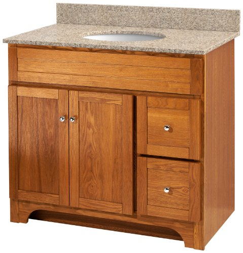 Foremost WROAT3621D-8W  Worthington 36-Inch Oak Bathroom Vanity with Wheat Beige Granite Top and White Vitreous China Sink - Foremost Oak Vanity