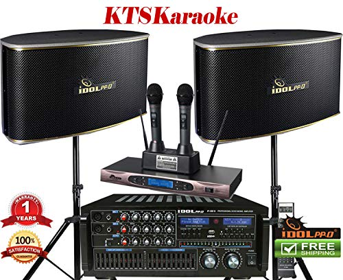 - IDOLpro 1400Watts Professional Karaoke Mixing Amplifier With Bluetooth/Equalizer/HDMI Plus Speaker & Dual Rechargeable Wireless Microphone Karaoke System