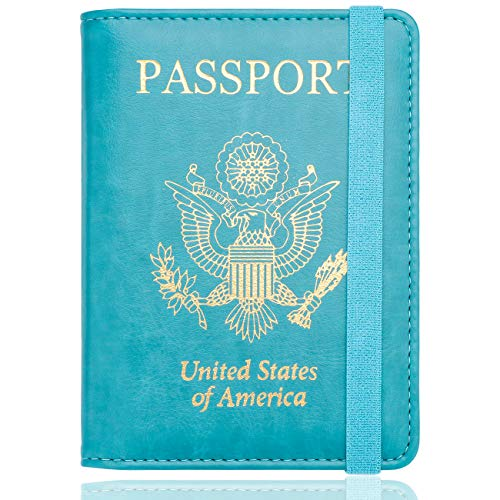 WALNEW RFID Passport Holder Cover Traveling Passport Case (E-Blue)