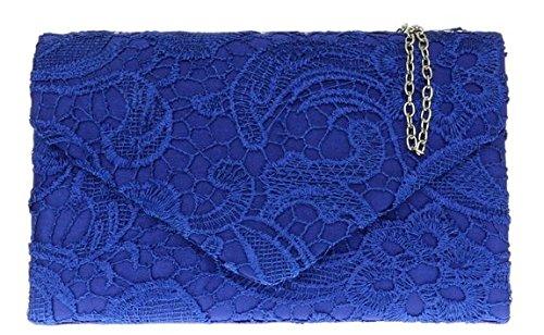Ladies Satin Lace Clutch Bag Shoulder Chain Elegant Wedding Evening Womens   Royal Blue