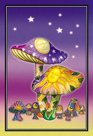 2 x Dan Morris - Sleepy Sun Moon Mushroom Celestial Flowers Postcards - 4'' x 6'' Inches