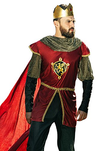 Adult Men King Arthur Costume Medieval Lord Great Conqueror Dress Up Role Play (Small/Medium, Crimson Red, Gold, Black) (Medieval Men Costume)