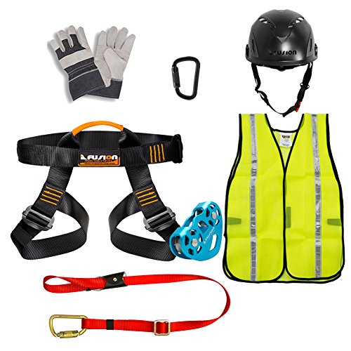 Fusion Climb Pro Backyard Zip Line Kit Harness Lanyard Trolley Carabiner Helmet Vest Glove Bundle FK-A-HLTCHVG-01 by Fusion Climb