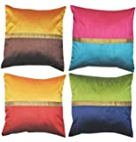Durable Dupian Silk cushion cover with gold lace 18 X 18 Inches 45cm x 45cm set of 4
