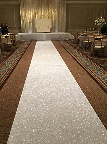 TRLYC 48Inch by 15FT Iridescent Sequin Wedding Aisle Runner Marriage Ceremony Bridal Carpet Wedding Aisle Runner Indoor Wedding Aisle Runner