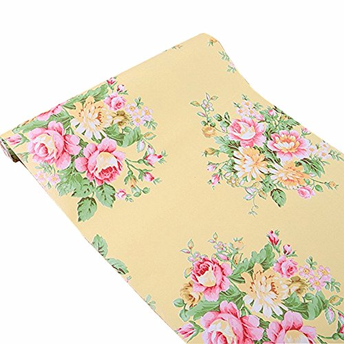 Yellow Vinyl Shelf Guides - BESTERY Vintage Floral Self-Adhesive PVC Contact Paper Shelf Liner Peel & Stick Dresser Drawer Sticker Home Deco 17.7inch by 118inch (Yellow)