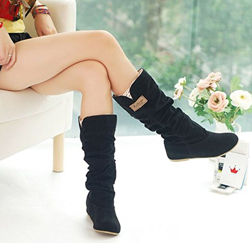 stylish sweet princess boots boots Winter high knee flat women shoes Black Autumn shoes casual snow 5SaPqAa