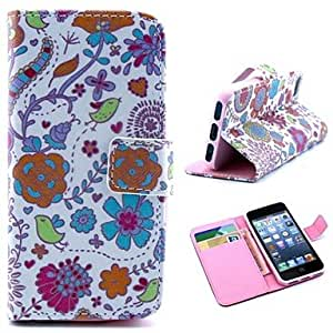Mini - Bird and Flower Pattern PU Leather Full Body Case with Stand and Money Holder for iPhone 5/5S