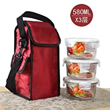 Luckyfree Lunch Boxs Glass With Compartments Bento Box For Students Adults Children Picnic Food Container,580mlX3-layer