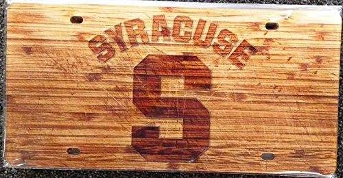 Stockdale Syracuse Orange Woodgrain Design Deluxe Laser Cut Acrylic Inlaid License Plate Tag University of