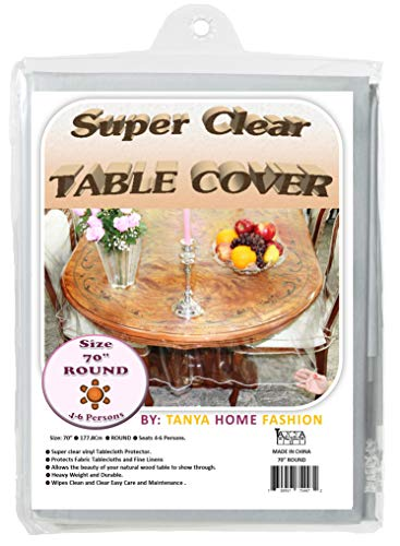 100% Vinyl Super Clear and Durable Tablecloth Protector Size 70