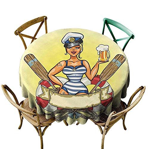 Luunins Round Tablecloth Cotton Girls,Pin Up Sexy Sailor Girl Lifebuoy with Captain Hat and Costume Glass of Beer Feminine,Multicolor D36,for -