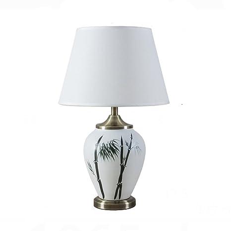 HUANGDA Lámpara de Mesa de cerámica Estilo Chino Lámpara de ...
