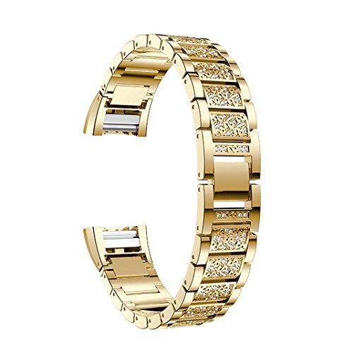 Price comparison product image For Fitbit Charge 2 Bands,  Aottom Fitbit Charge 2 Watch Band Stainless Steel Rhinestone Glitter Replacement Band Wrist Bands Metal Buckle Bracelet for Fitbit Charge 2 Fitness Accessories - Gold