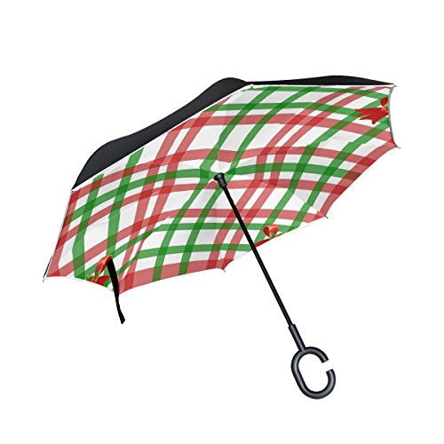 YUMOING Double Layer Inverted Christmas Gingham Pattern Red Green Bow Holly Umbrellas Reverse Folding Umbrella Windproof Uv Protection Big Straight Umbrella For Car Rain Outdoor With C-shaped Handle