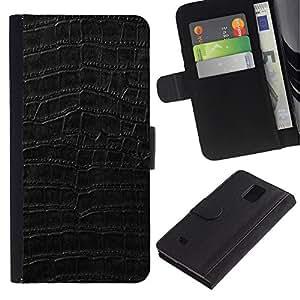 """Samsung Galaxy Note 4 IV / SM-N910 , la tarjeta de Crédito Slots PU Funda de cuero Monedero caso cubierta de piel ("""" Black Pattern Texture Textile Surface"""")"""