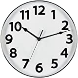 Bernhard Products Large Silver and White Wall Clock, 12-Inch Silent Non Ticking Quality Quartz Battery Operated Round Home/Office/Classroom Modern Clock Silver Rim 3D Numbers