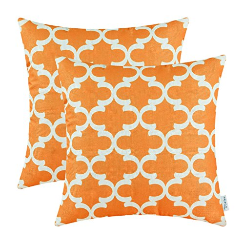 CaliTime Pack of 2 Throw Pillow Covers Cases for Couch Sofa Home Decor, Modern Quatrefoil Accent Geometric, 20 X 20 Inches, Orange