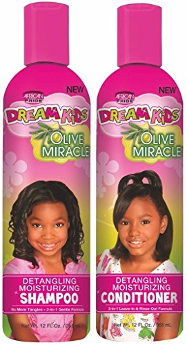 African Pride Dream Kids Olive Miracle Detangling Shampoo and Conditioner Combo Set