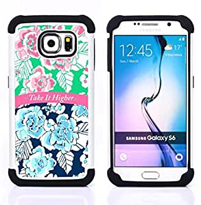 - take it higher 420 blue pink text floral/ H??brido 3in1 Deluxe Impreso duro Soft Alto Impacto caja de la armadura Defender - SHIMIN CAO - For Samsung Galaxy S6 G9200